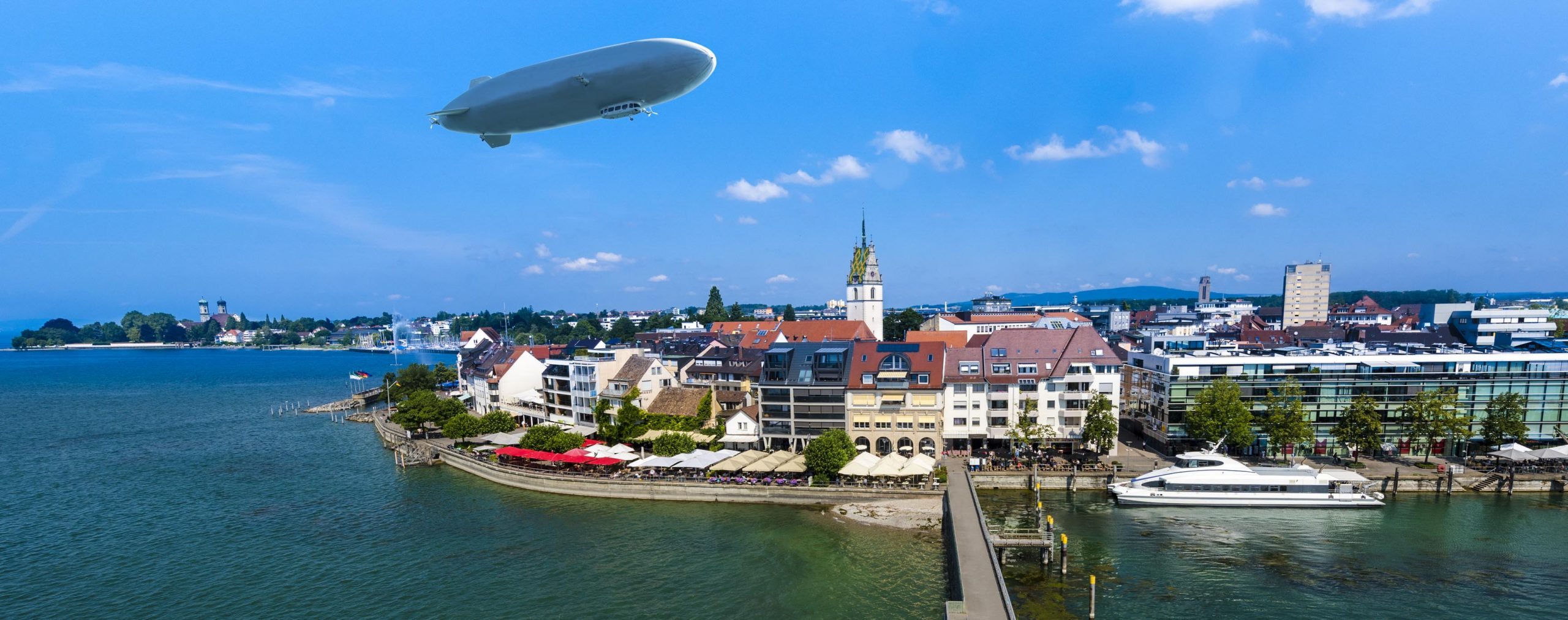View from the mole tower over Friedrichshafen at Lake Constance