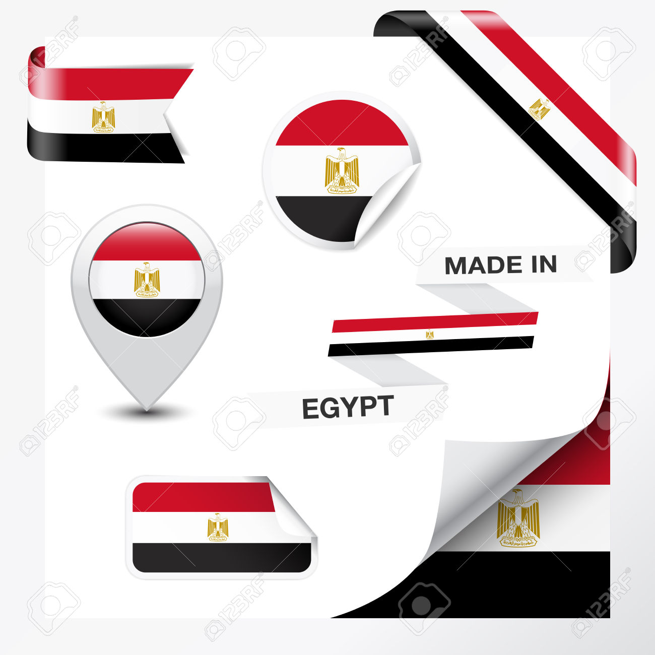 26592255-Made-in-Egypt-collection-of-ribbon-label-stickers-pointer-badge-icon-and-page-curl-with-Egyptian-fla-Stock-Vector