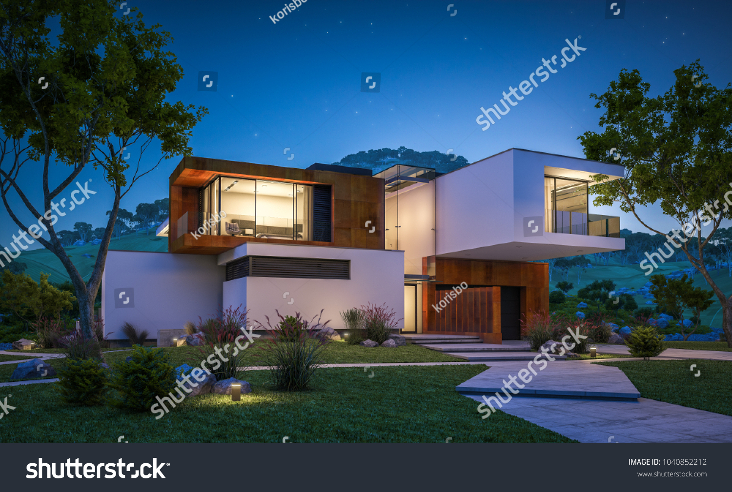 stock-photo-d-rendering-of-modern-cozy-house-by-the-river-with-garage-for-sale-or-rent-with-beautiful-1040852212