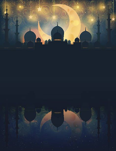 Islam_ Mosque silhouette in night sky with crescent moon and star (1)