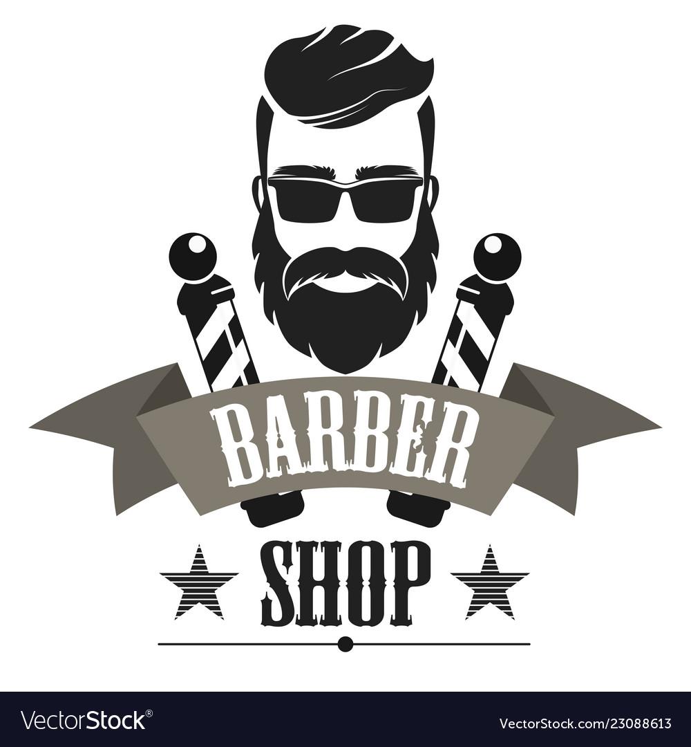 Barber shop retro label logo, vintage emblem or badge isolated vector illustration.