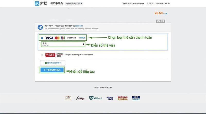 Lựa chọn loại thẻ thanh toán, có thể là visa, MasterCard, JCB,... tùy vào thẻ bạn sử dụng